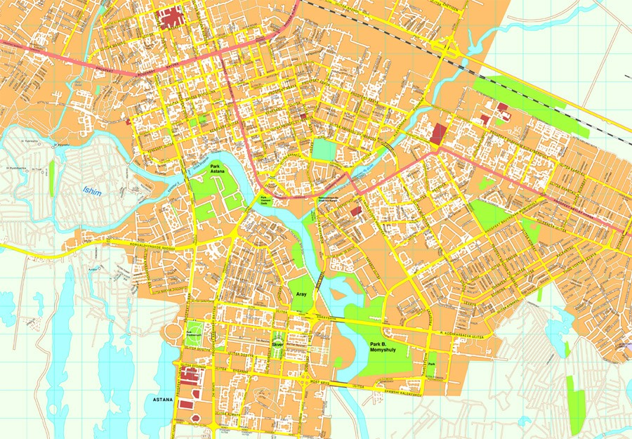 Astana Vector Map EPS Illustrator Vector Maps Of Asia Cities - astana map