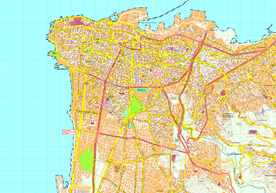 Map Of Asia Cities.Beirut Map