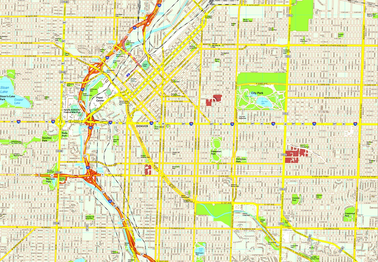 Denver Map Eps Illustrator Vector City Maps Usa America Order And