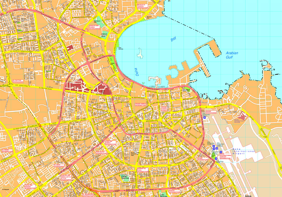 Doha Vector map EPS Illustrator Vector Maps of Asia Cities