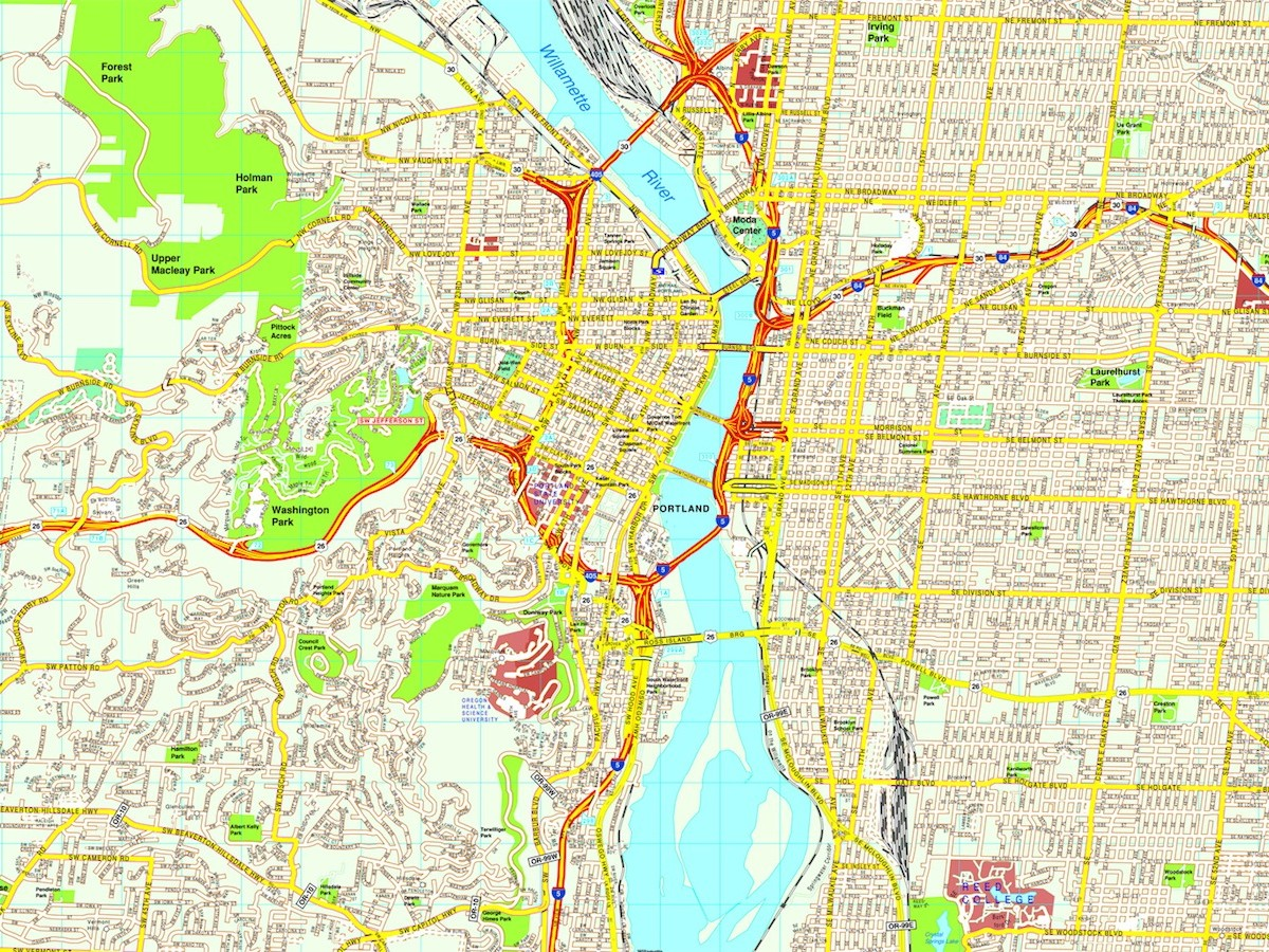 Portland Map Eps Illustrator Vector City Maps USA America Order - Portland usa map