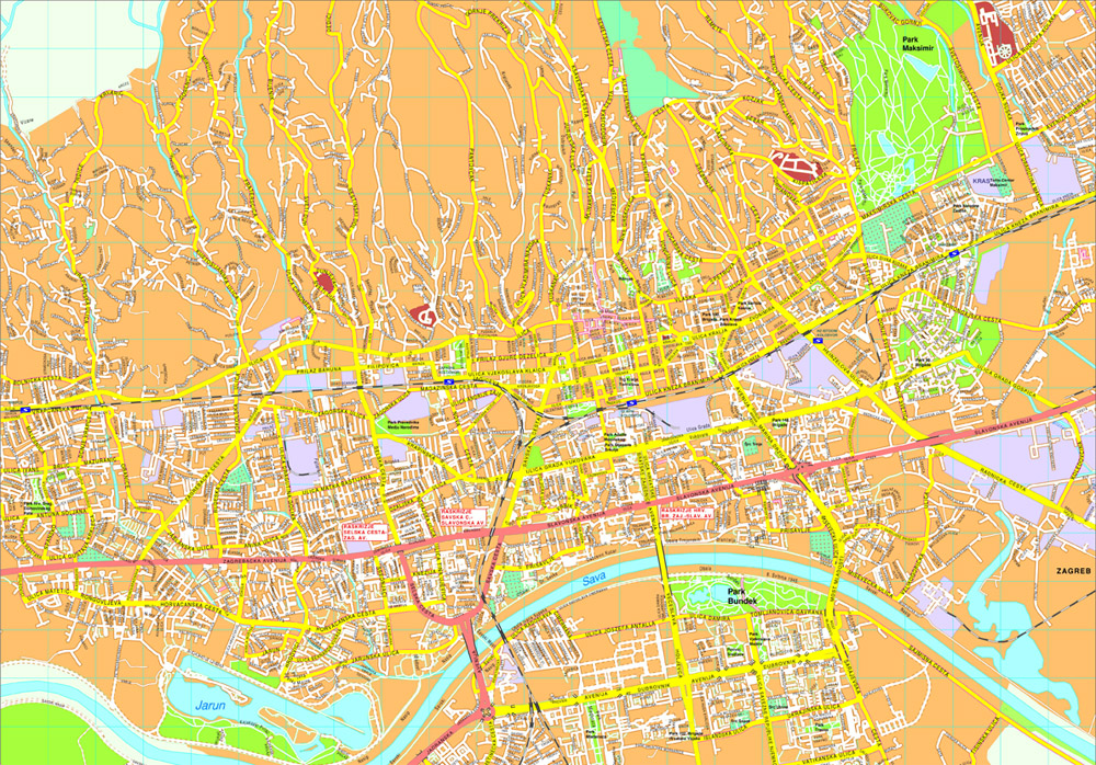 Zagreb Vector map Order and Download Zagreb Vector map made for