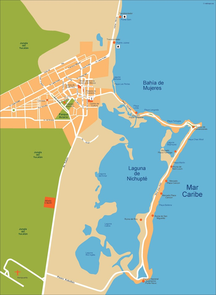cancun vector map