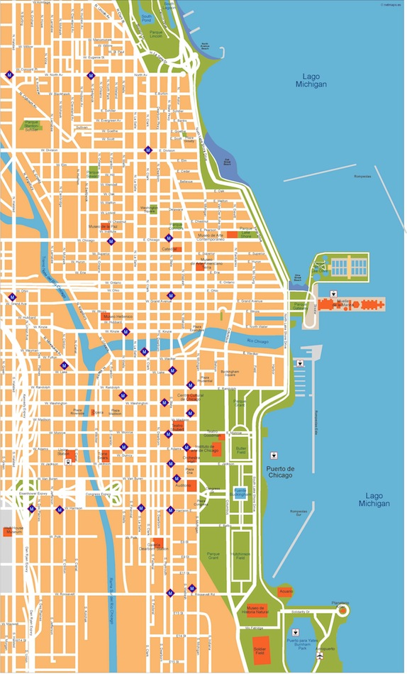 Chicago Vector Map Eps Illustrator Vector City Maps USA