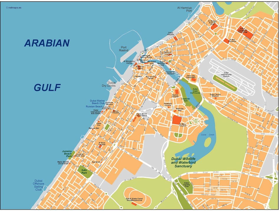 dubai vector map