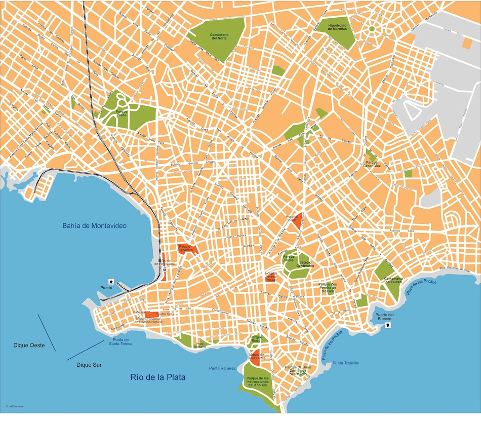 Montevideo Vector Map Eps Illustrator Vector Mapas Order And - Montevideo map