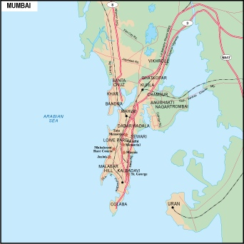Mumbai On Map Of Asia.Bombay Vector Map Eps Illustrator Vector Maps Of Asia Cities