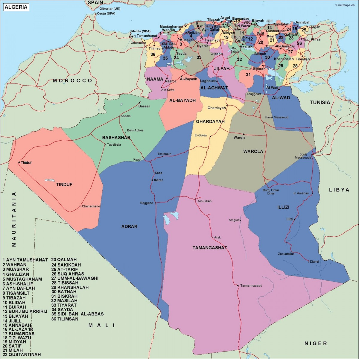 algeria political map. Vector Eps maps | Order and download