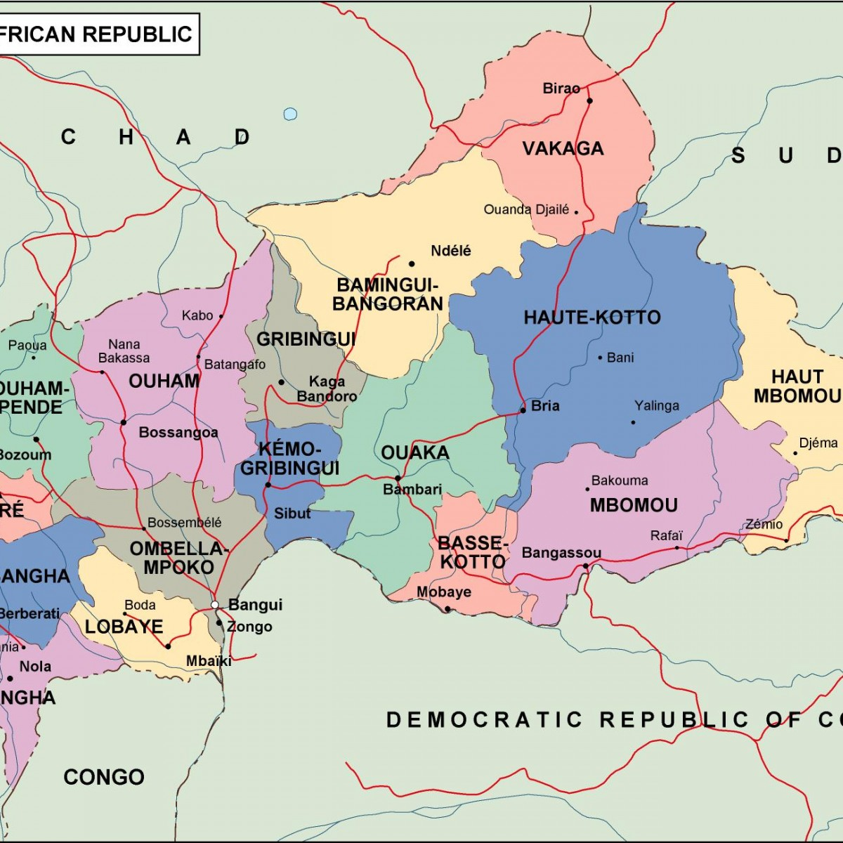 Central Africa Political Map Vector Eps Maps Order And Download