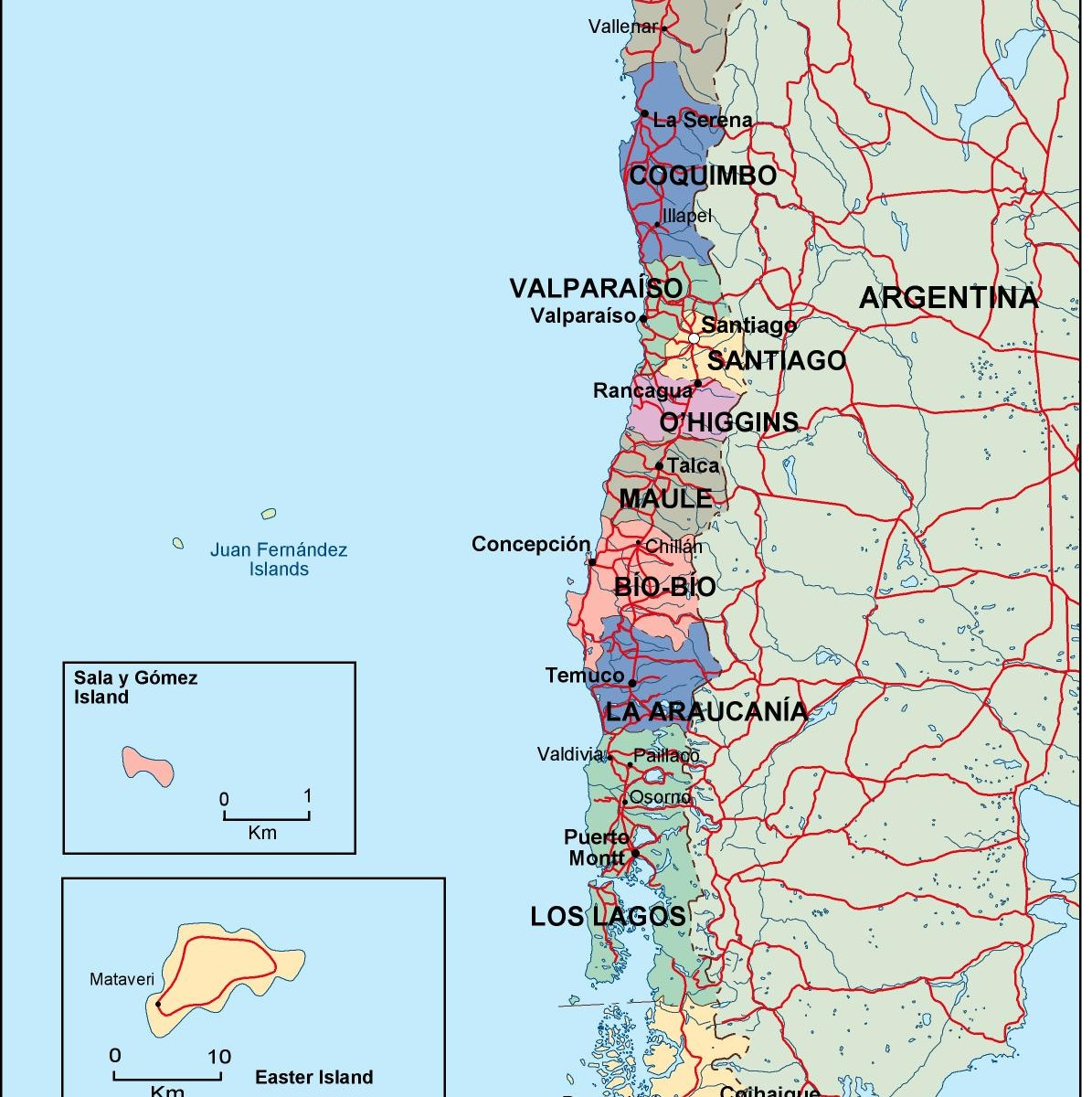 Chile Political Map Order And Download Chile Political Map