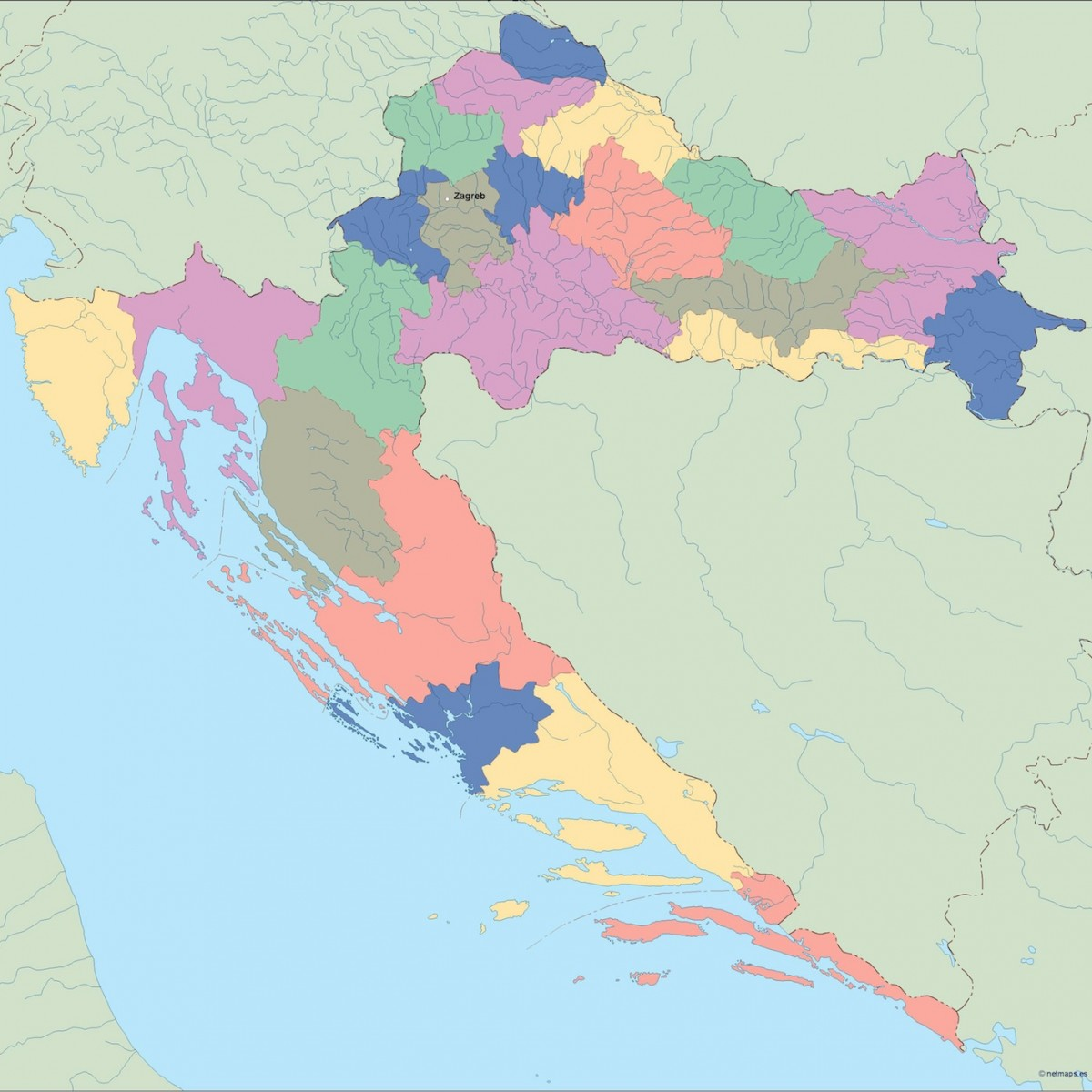 croatia vector map. Illustrator Vector Eps maps | Order and download ...