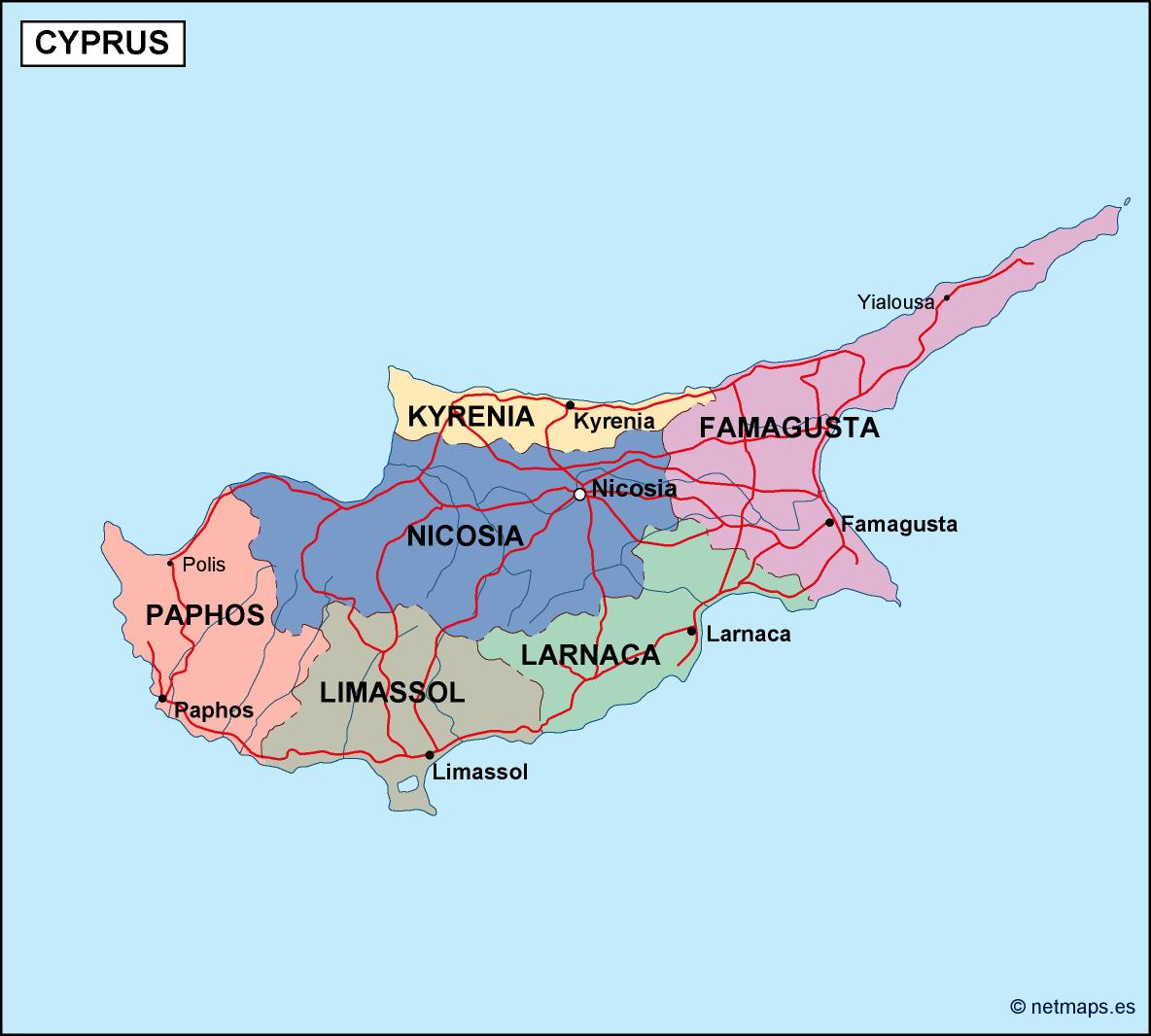 cyprus political map Illustrator Vector Eps maps Order and