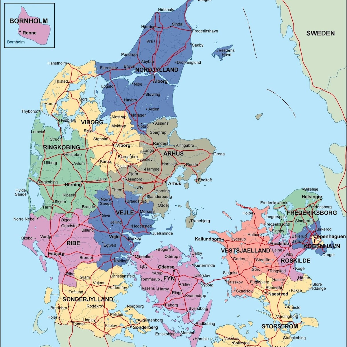 denmark political map. Illustrator Vector Eps maps | Order and ... on