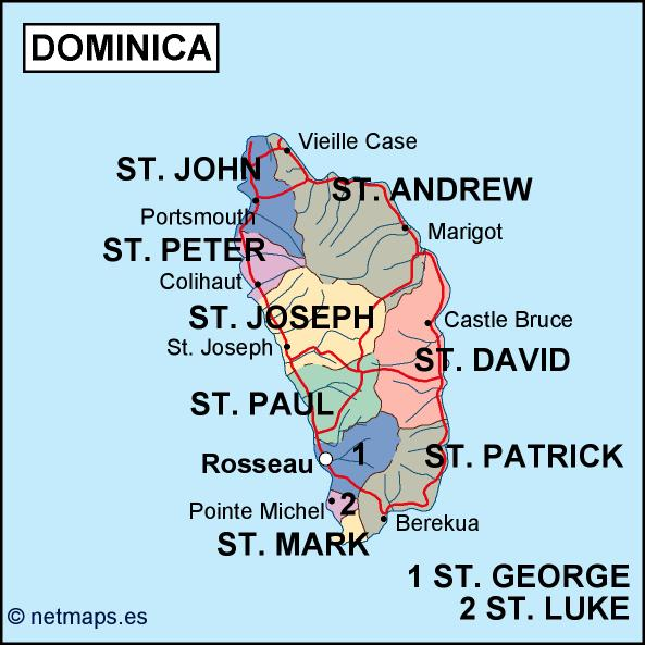 Dominica Political Map Order And Download Dominica Political Map - Dominica political map