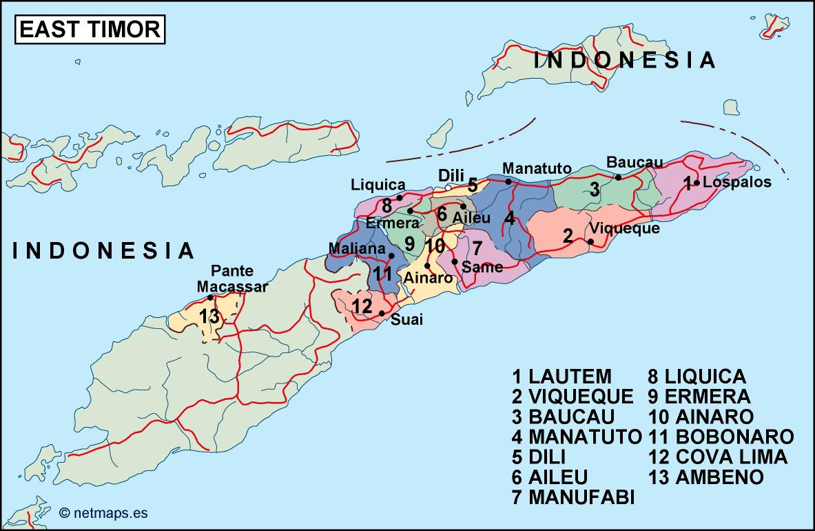 east timor political map Order and Download east timor political