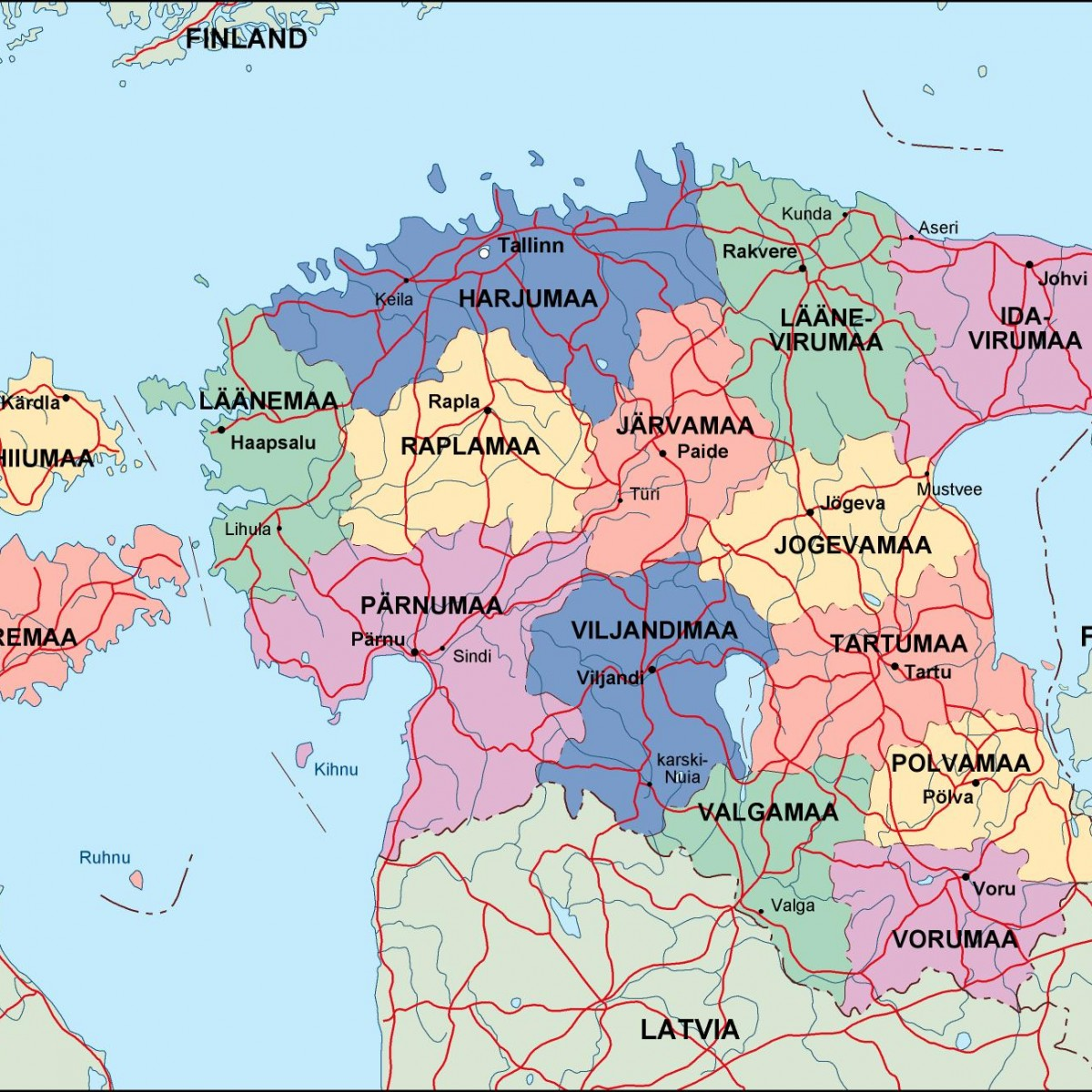 estonia political map. Illustrator Vector Eps maps | Order and ...
