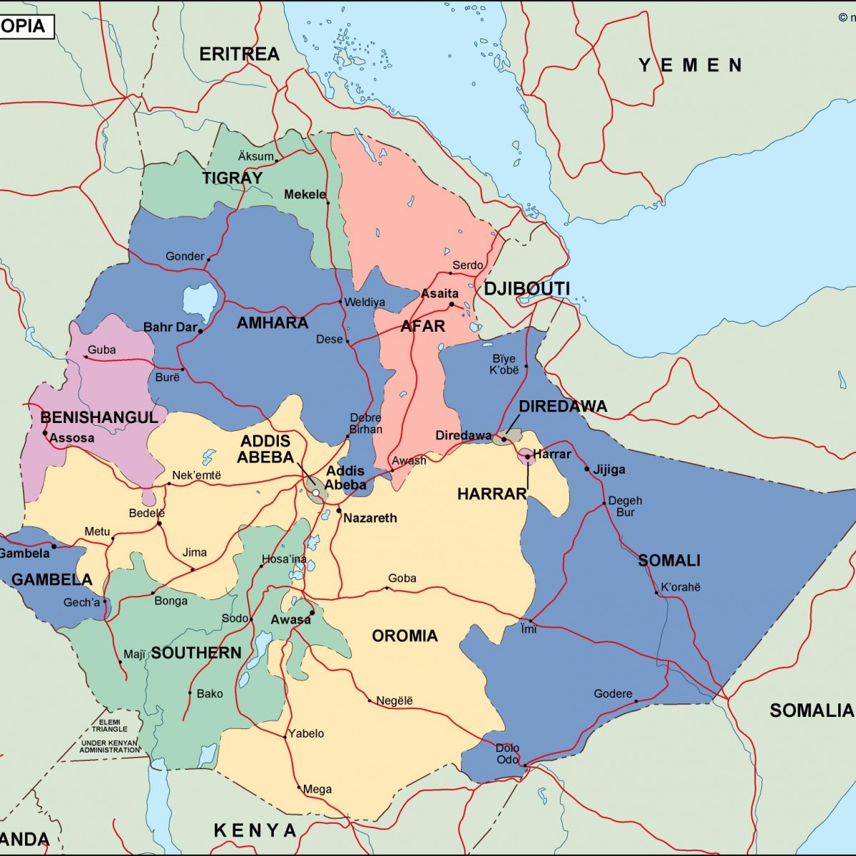 ethiopia political map. Vector Eps maps | Order and download ...