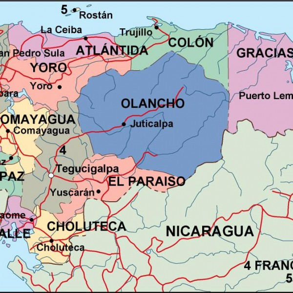 honduras political map
