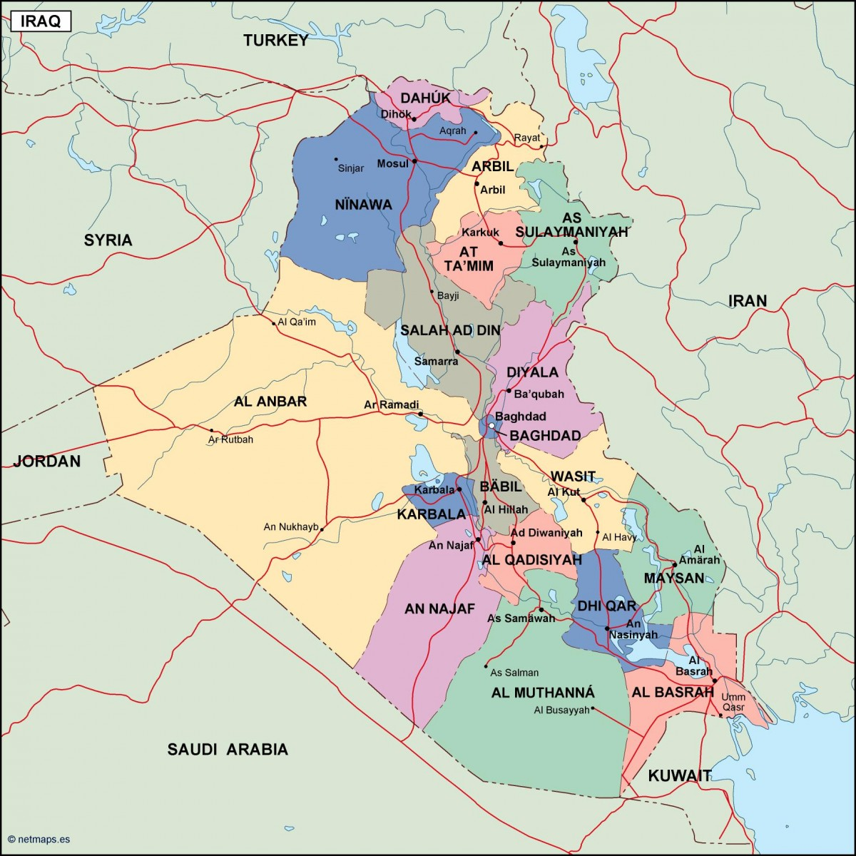 iraq political map Order and Download iraq political map made for