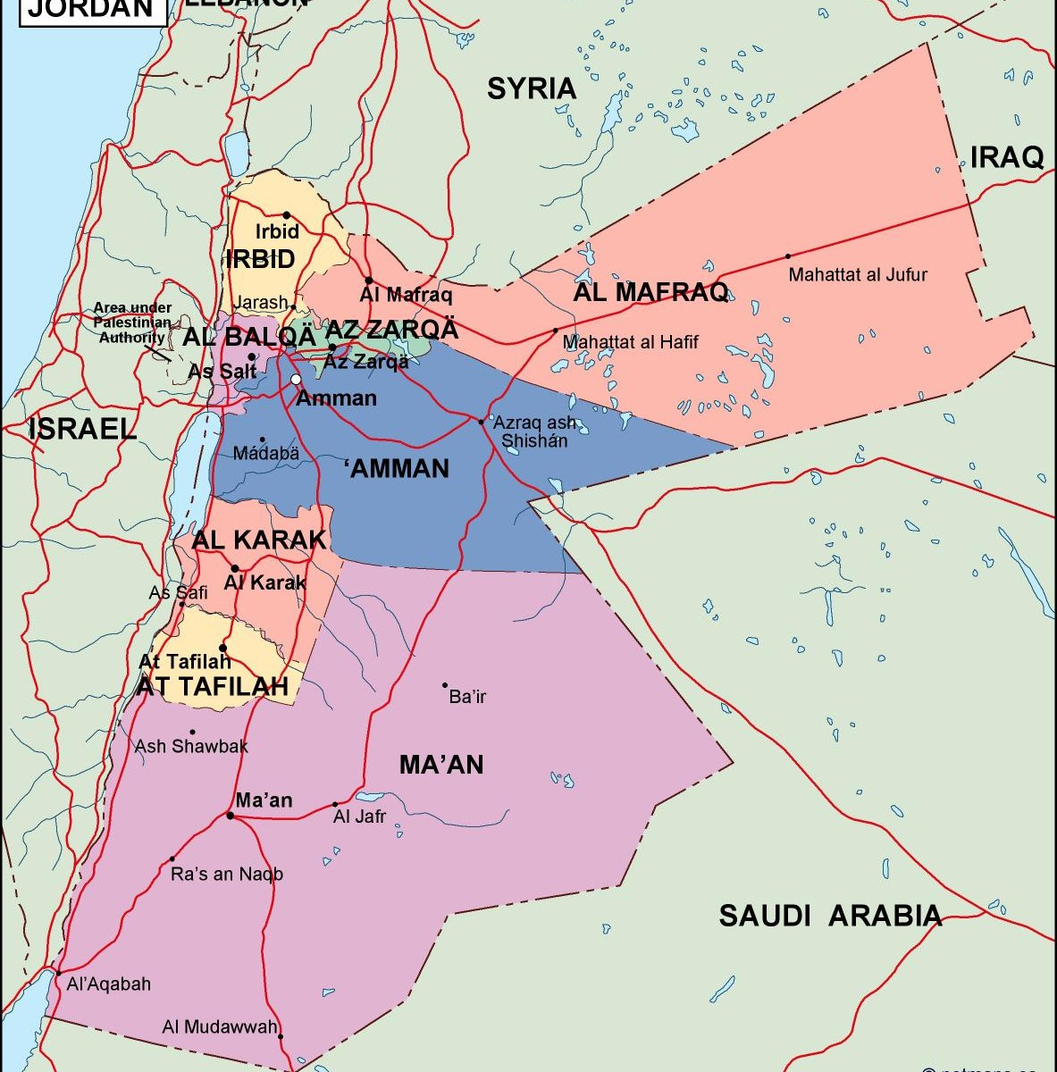 Political Map Of Jordan.Jordan Political Map Order And Download Jordan Political Map