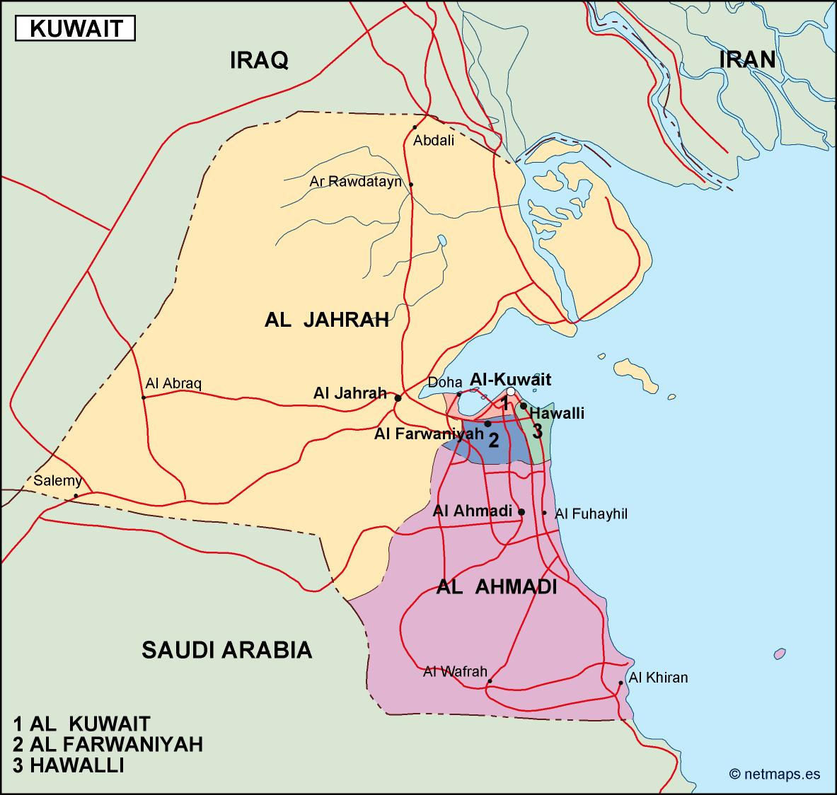 kuwait political map Order and Download kuwait political map made
