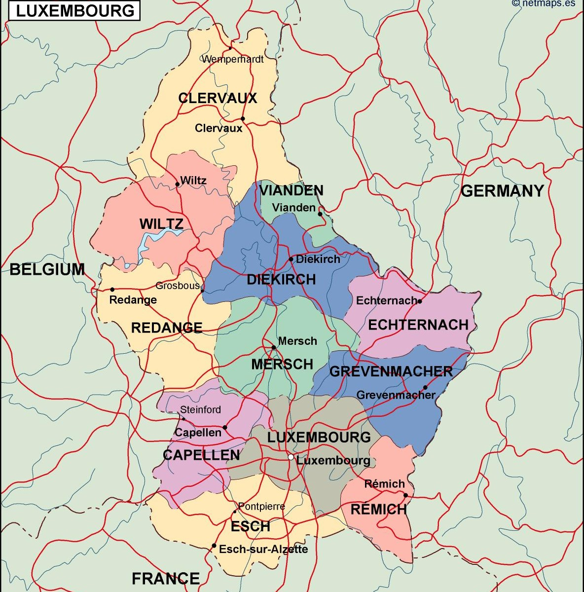 Luxembourg Political Map Illustrator Vector Eps Maps Order And - Luxembourg map