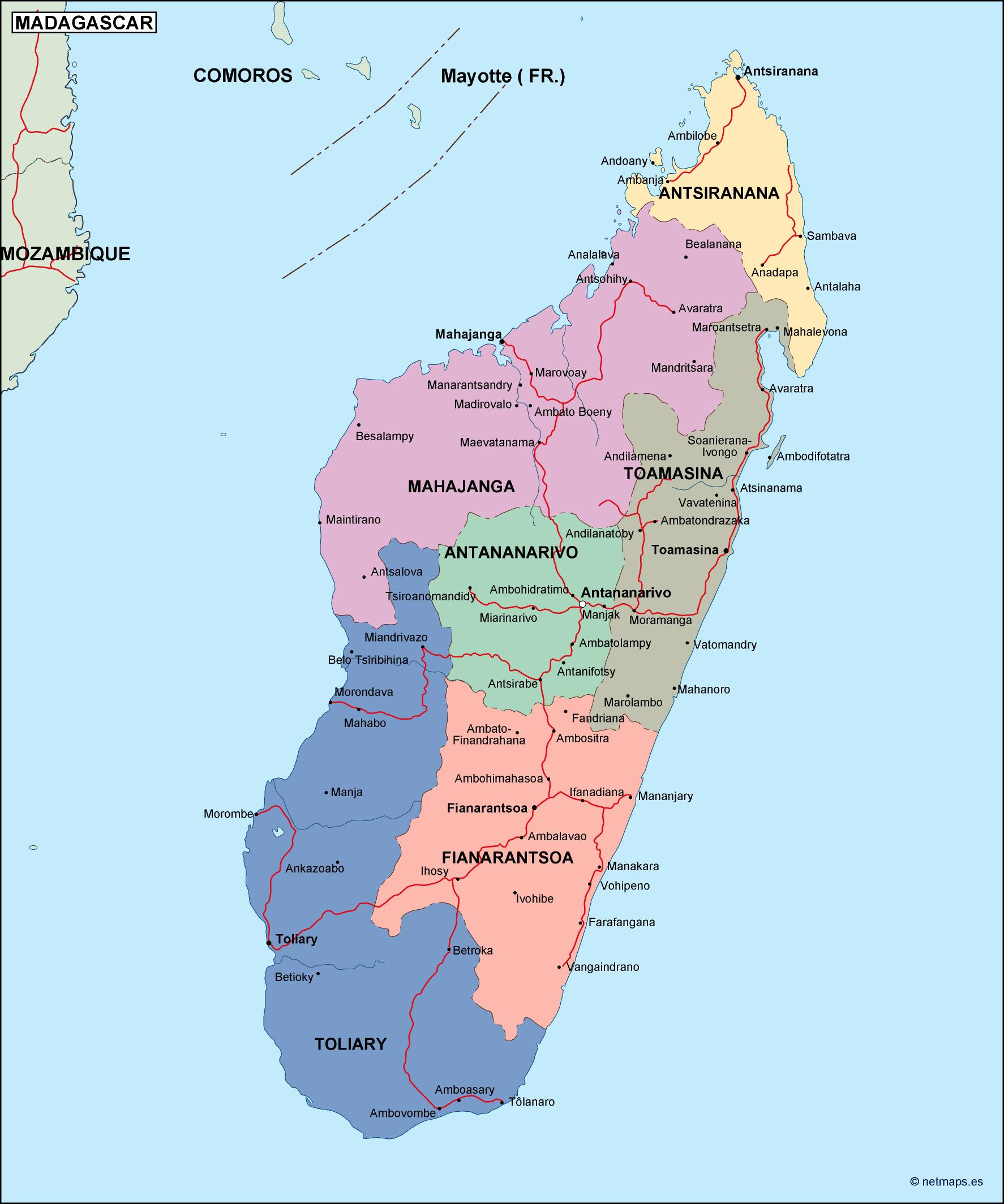Madagascar Political Map Vector Eps Maps Order And Download