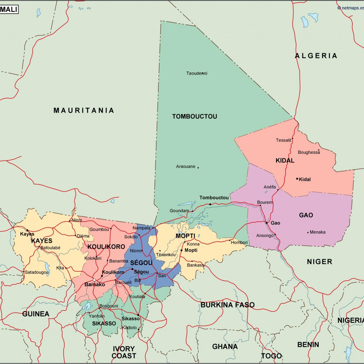mali political map. Vector Eps maps | Order and download mali ...