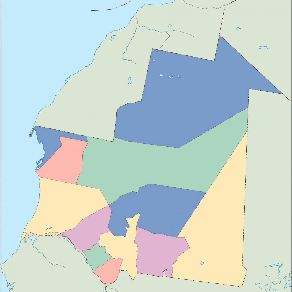 Mauritania Blind Map Vector Eps Maps Order And Download - Mauritania map download