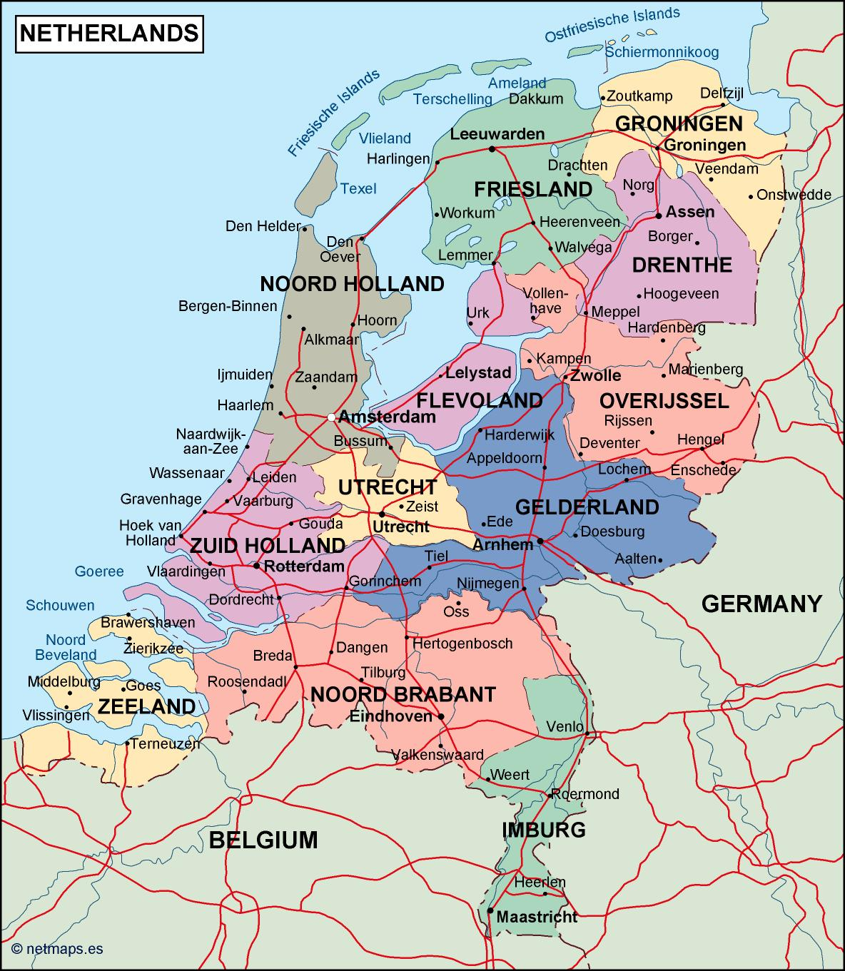 netherlands political map Illustrator Vector Eps maps Order and