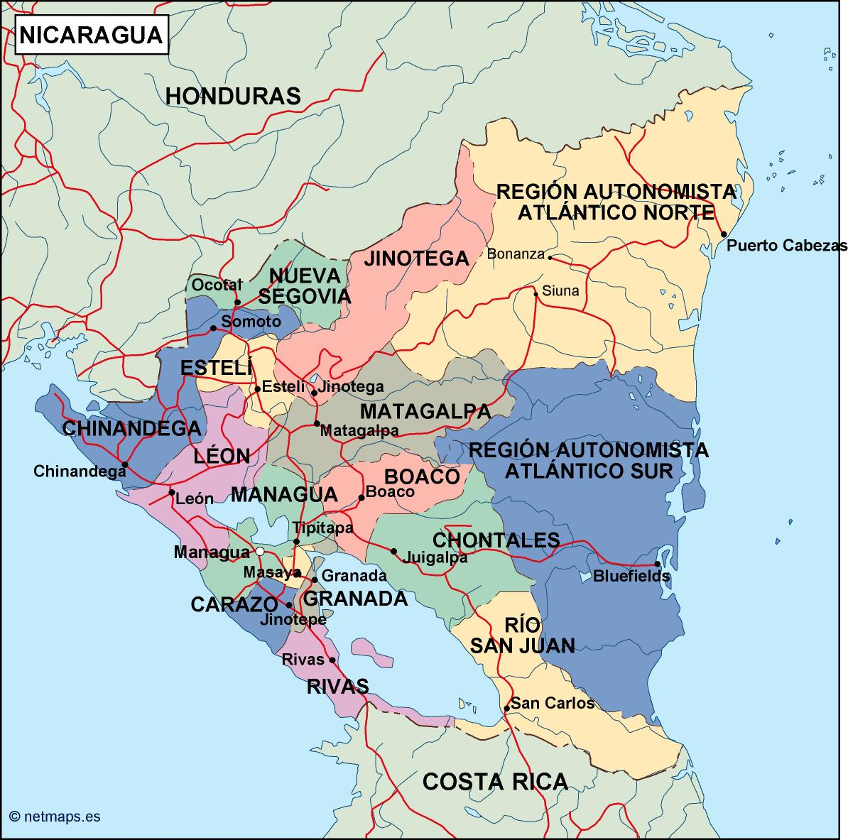 nicaragua political map | Order and download nicaragua political map
