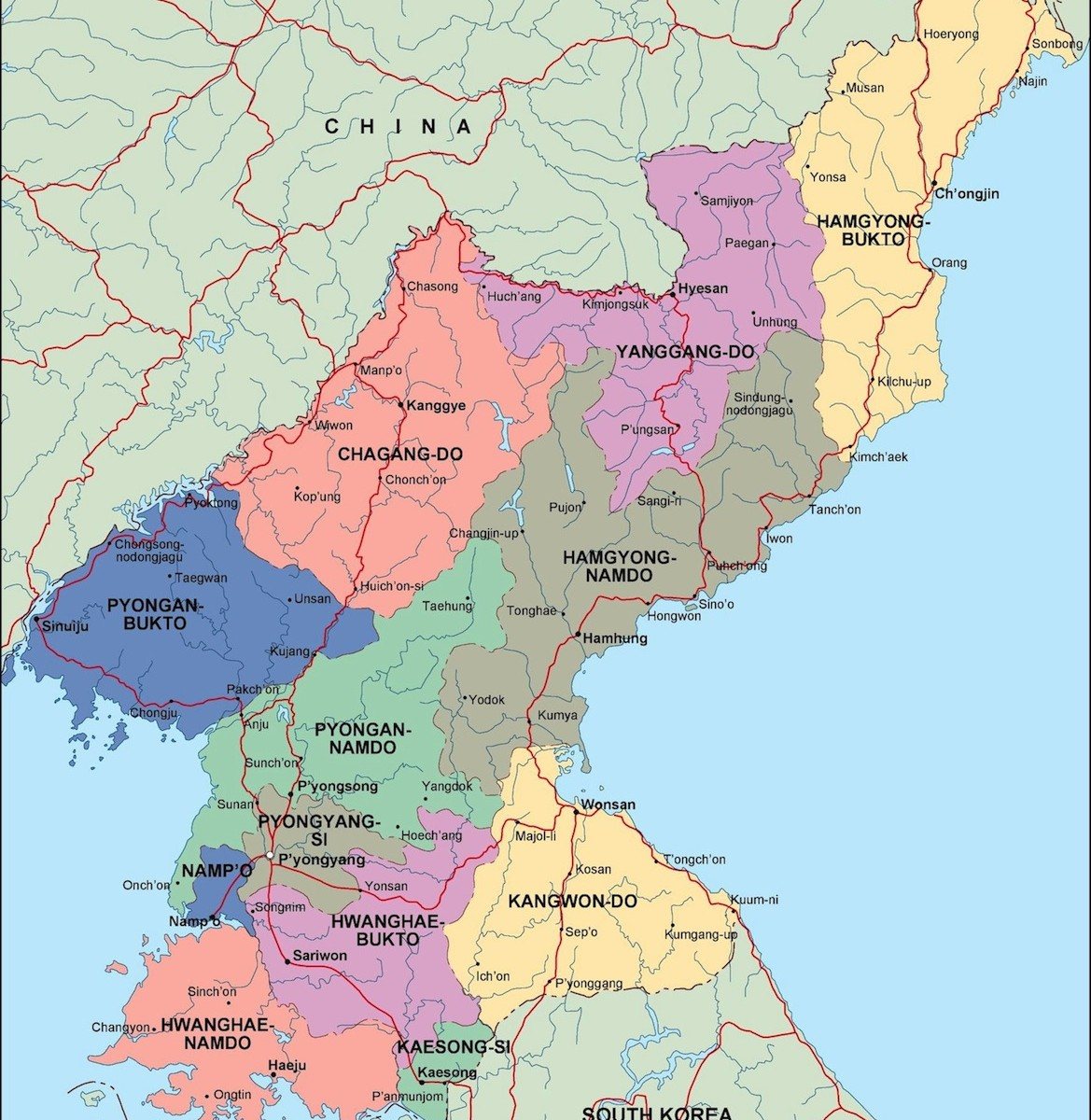 north korea political map | Order and download north korea political map