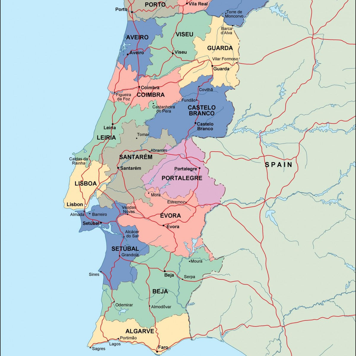 Portugal Political Map Illustrator Vector Eps Maps Order And