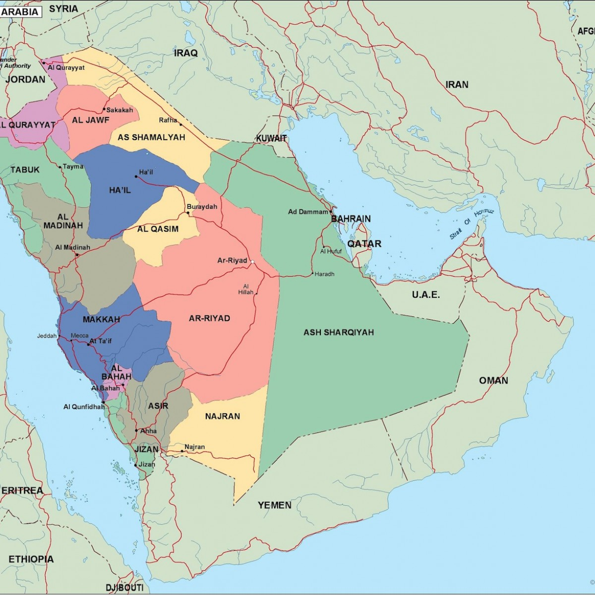saudi arabia political map | Order and download saudi arabia ...