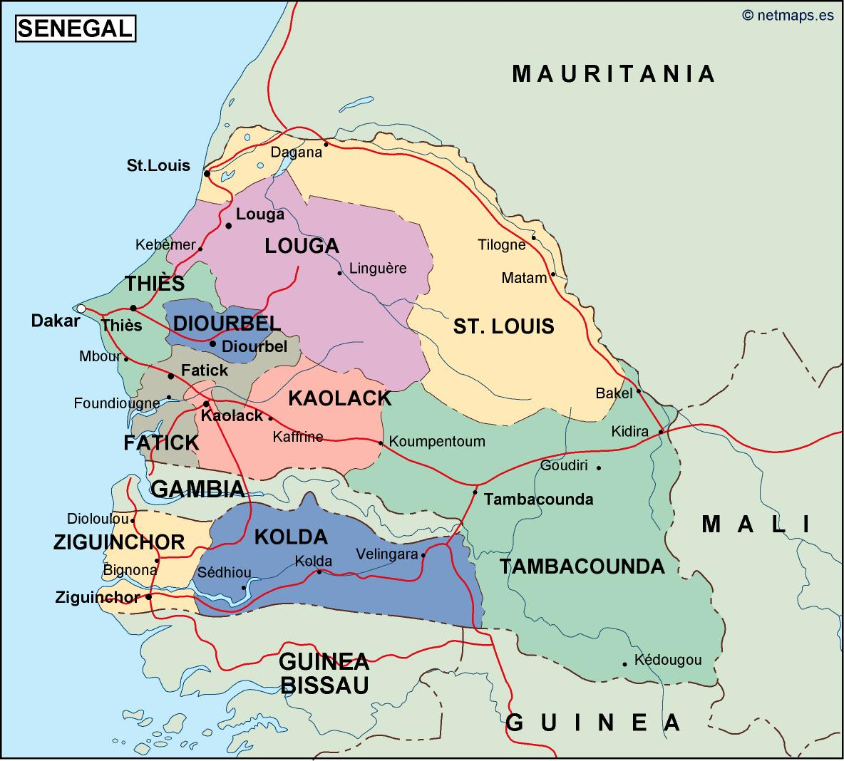 Senegal On Africa Map.Senegal Political Map Vector Eps Maps Order And Download Senegal