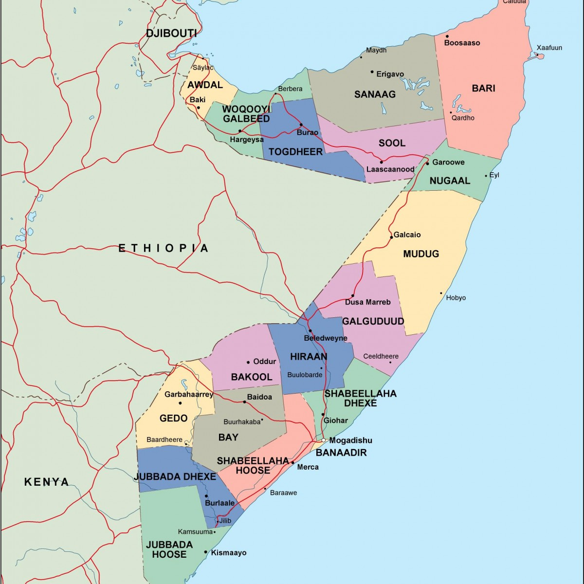 Somalia Political Map Vector Eps Maps Order And Download Somalia