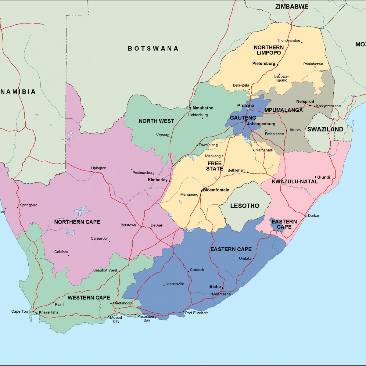 South Africa Political Map Vector Eps Maps Order And Download