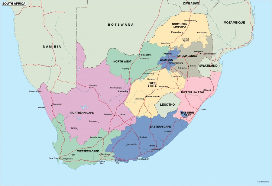 South Africa Political Map Vector Eps Maps Order And Download - Lesotho political map