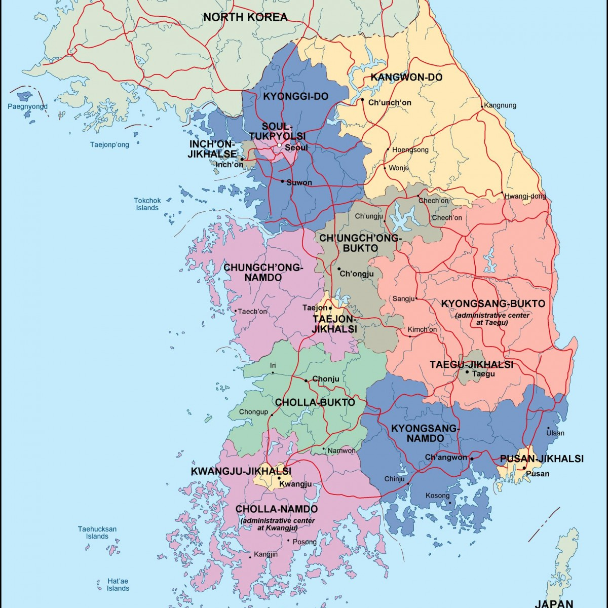 South Korea Political Map Order And Download South Korea - Map of south korea