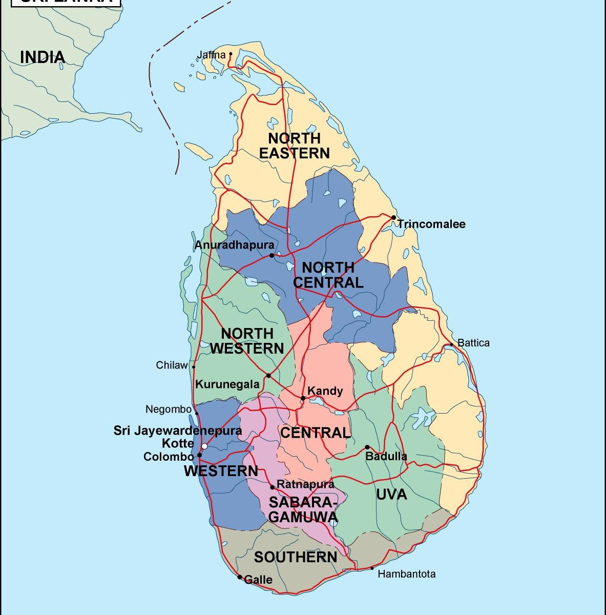 Sri Lanka Political Map.Srilanka Political Map Order And Download Srilanka Political Map