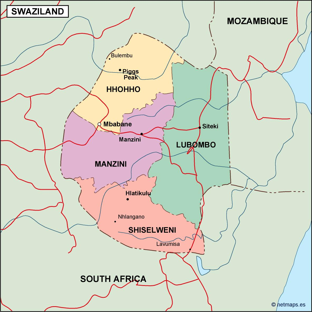 swaziland map detailed clear large road map of swaziland ezilon