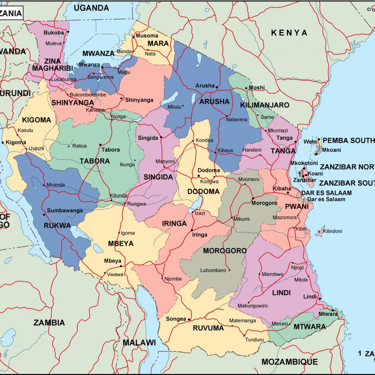 Tanzania Political Map.Tanzania Political Map Vector Eps Maps Order And Download