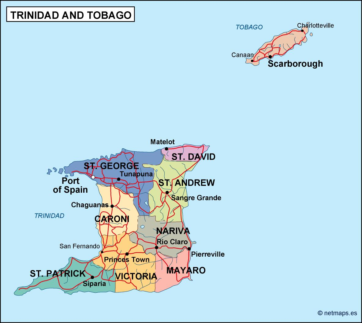 Trinidad And Tobago Political Map Order And Download Trinidad - Trinidad and tobago map