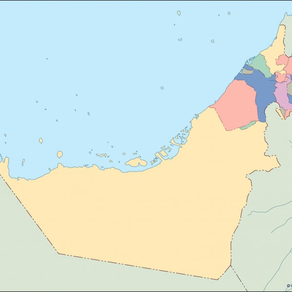 united arab emirates blind map