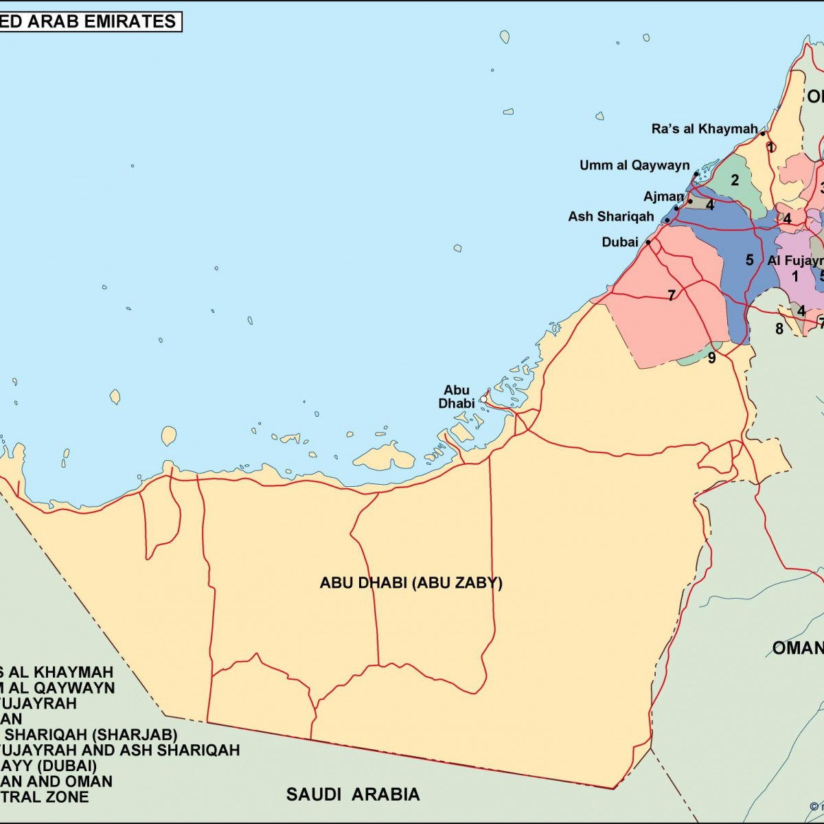 United Arab Emirates Political Map Order And Download United - United arab emirates map