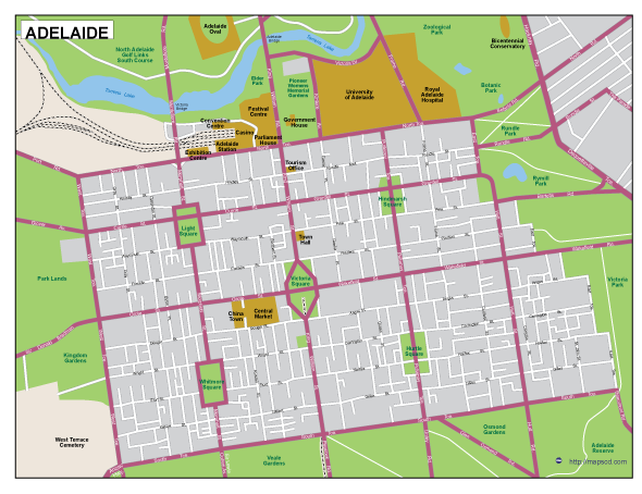 Adelaide Map Of Australia.Adelaide Eps Map