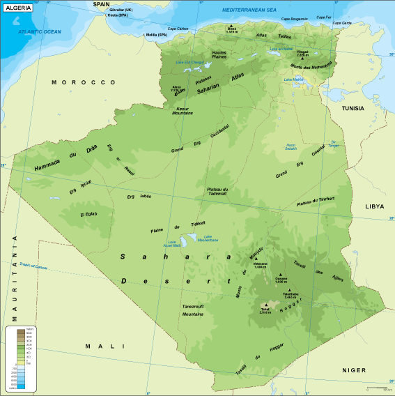 Algeria physical map Order and Download Algeria physical map made