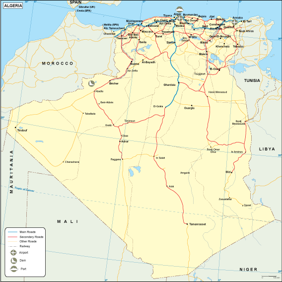 Algeria transportation map