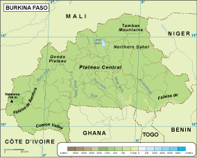 Burkina Faso physical map Order and Download Burkina Faso physical