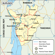 Burundi transportation map